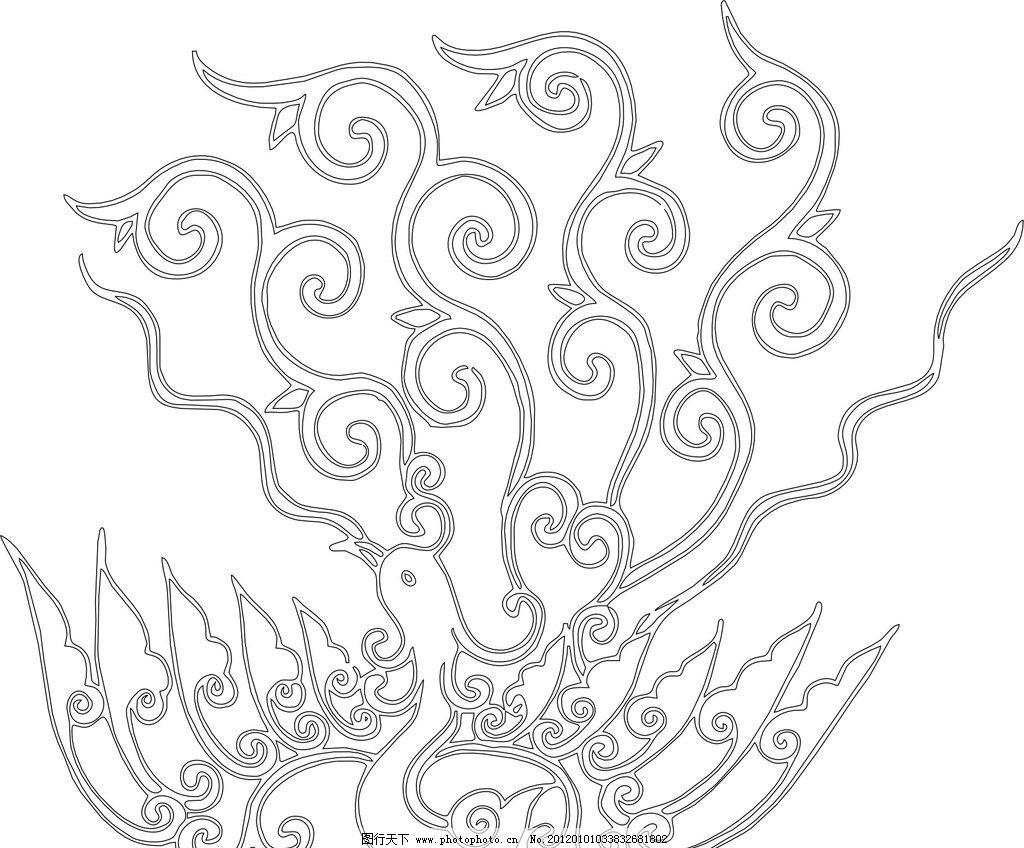 凤凰图片,花边 花纹 凤凰花纹 雕刻花纹 镂空花纹-图