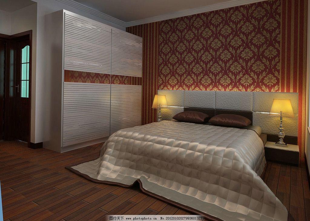 卧室床头效果图 床头效果 卧室效果图 灯光设计 床 衣柜设计 墙纸效果