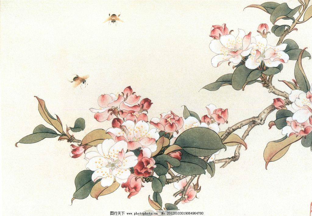 西府海棠 工笔国画 花卉 文化艺术 设计 300dpi jpg