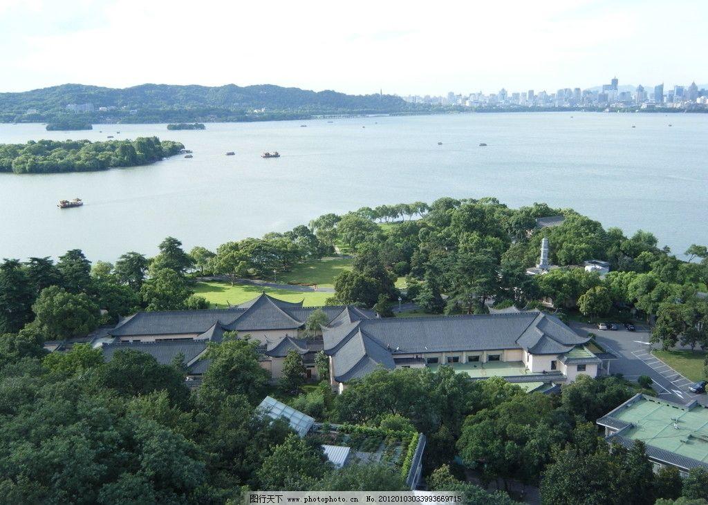 摄影 桥 绿树 亭 柳树 城市 鸟瞰 俯视 72dpi jpg 杭州西湖 国内旅游