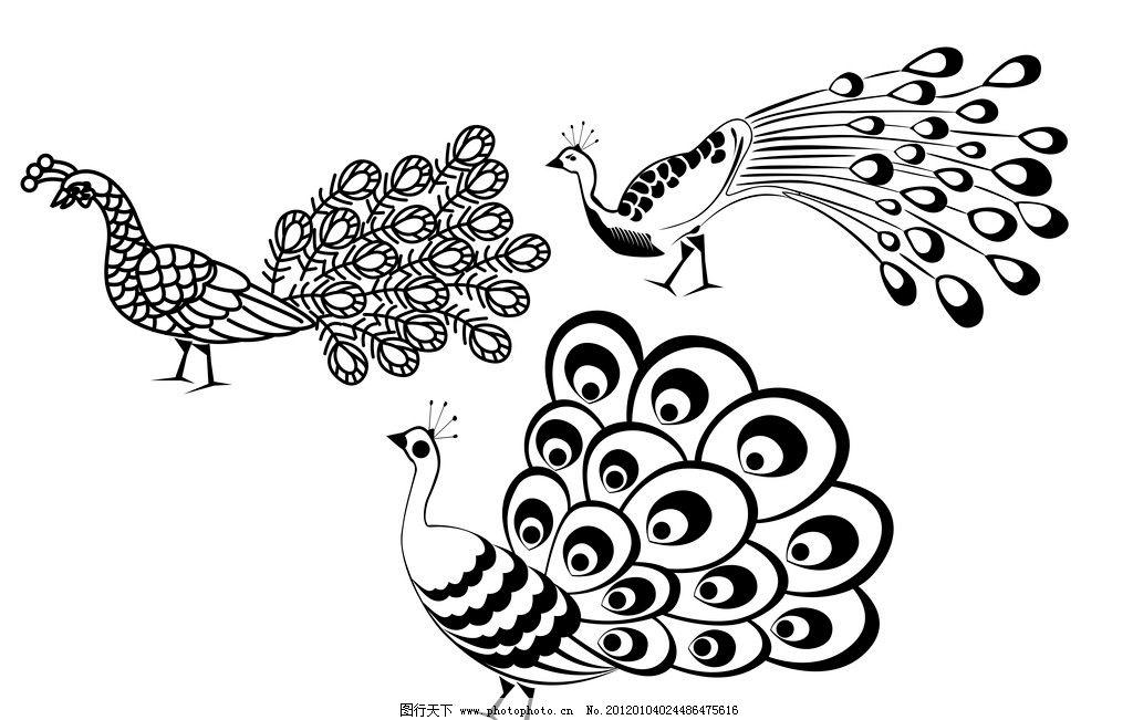 孔雀 黑白 花纹 压纹 压痕 矢量 鸡鸟 飞禽 走兽 美丽 开屏