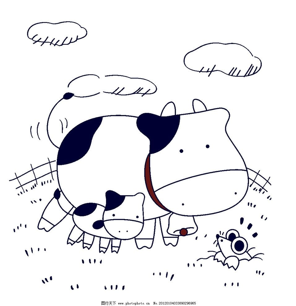 可爱小牛简笔画