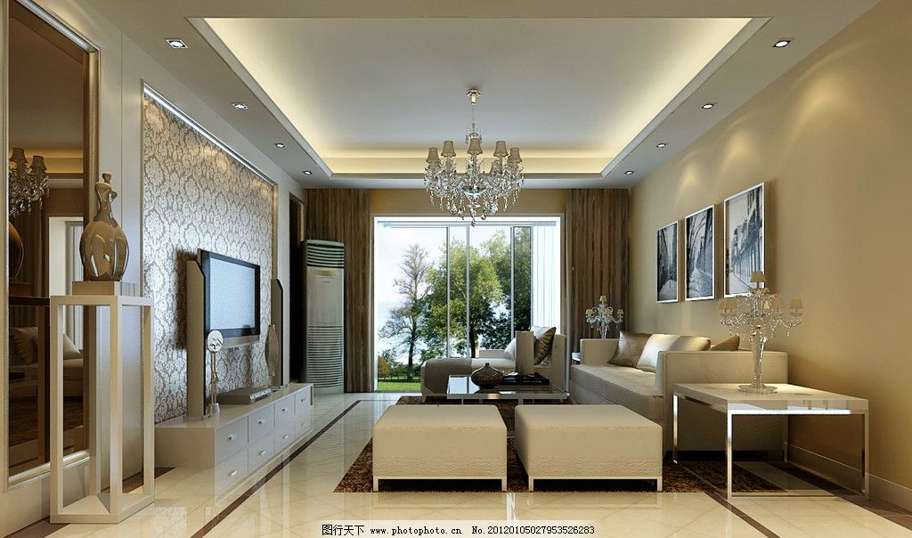 简欧客厅 欧式客厅 电视 空调 沙发 柜子 室内设计 环境设计 设计 72