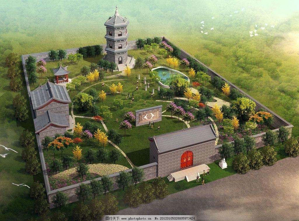古代建筑 古建筑效果图 古典园林 景观效果图 塔 寺庙效果图 景观设计