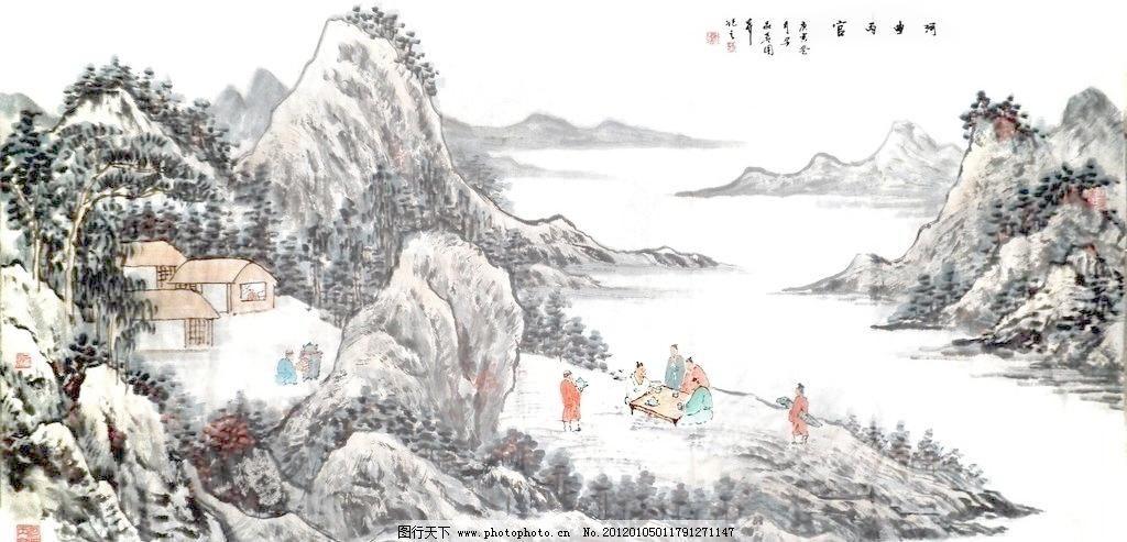 120dpi jpg 彩墨山水画 房子 风景画 国画 国画山水 河流 绘画 绘画