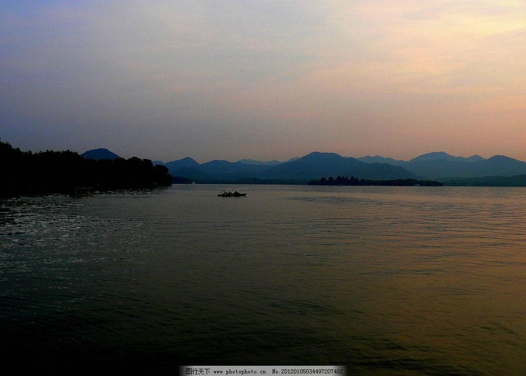 西湖晚霞图片,杭州 山水 风景 日落 摄影-图行天下图库