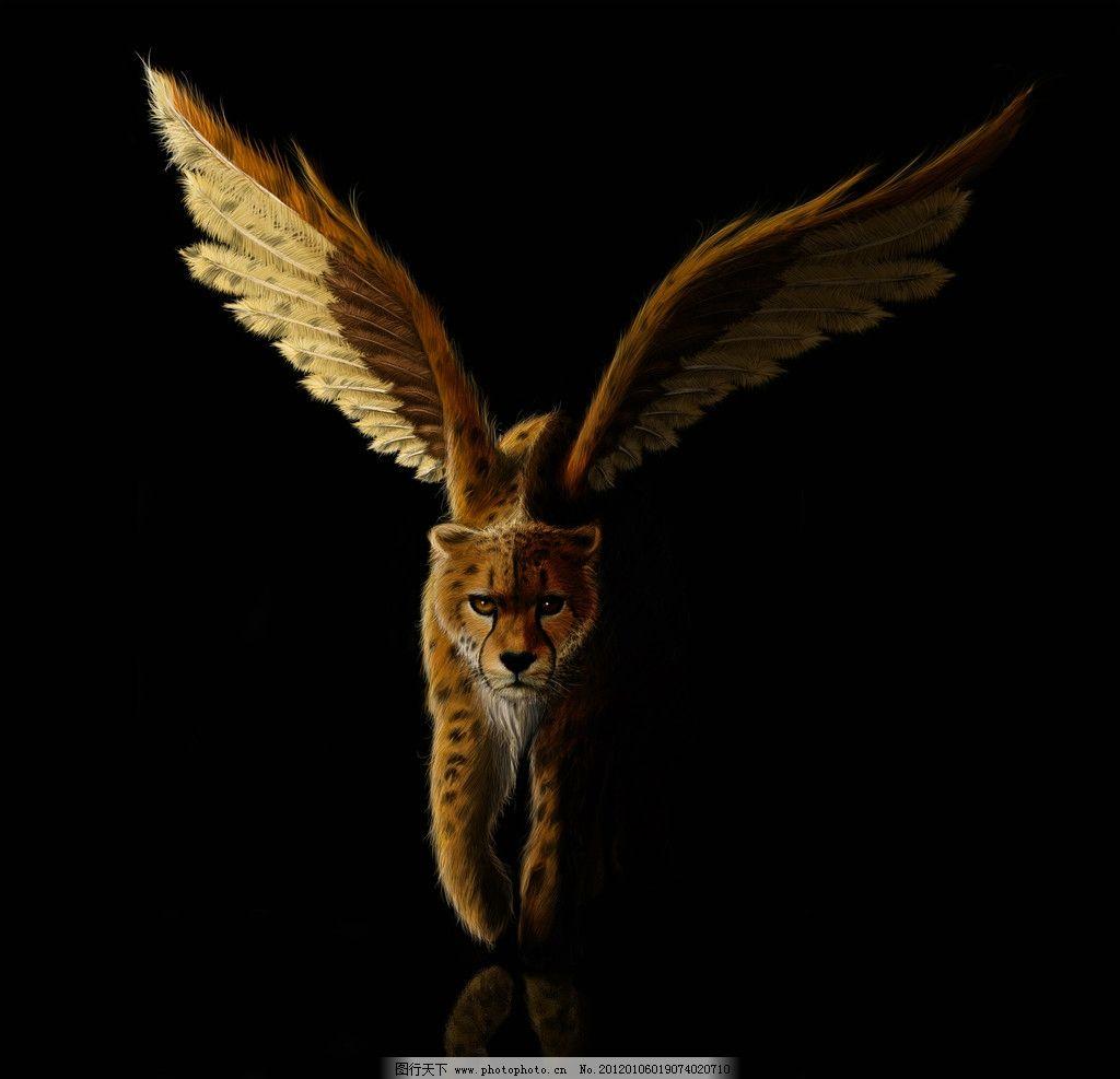 飞豹 豹子 翅膀 动物 哺乳动物 飞翔的豹子 绘画书法 文化艺术 设计