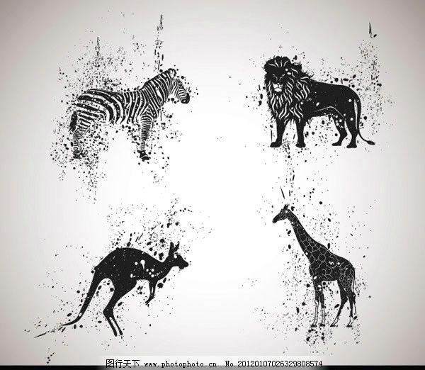 长颈鹿 狮子 动物世界 边框 社会 经典 精致 皮影戏 斑点 构成 平面图片