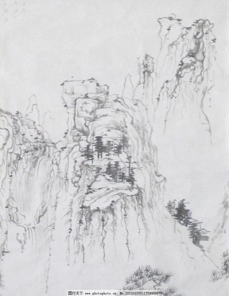 国画写意 墨迹 水墨画 绘画 树木 植物 山峰 山 云雾 奇峰 木屋 房子