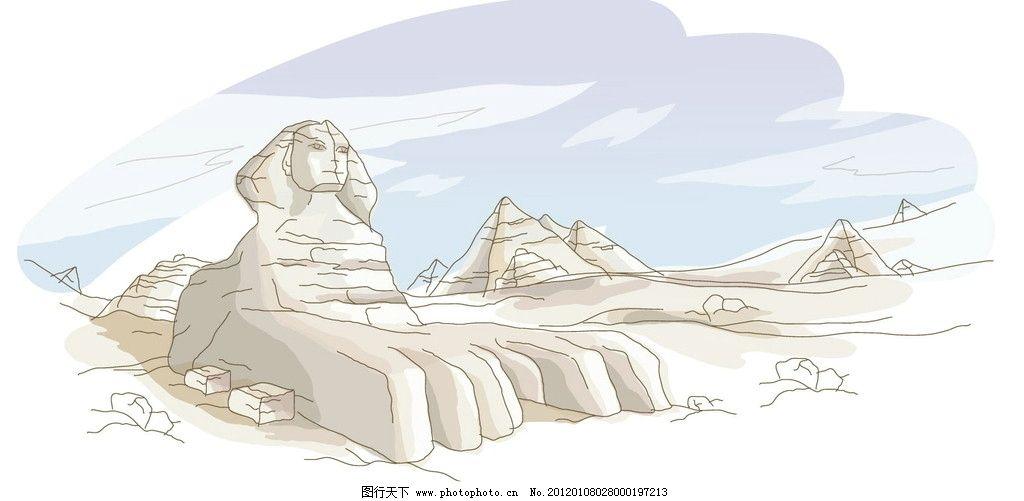 手绘狮身人面像埃及金字塔图片
