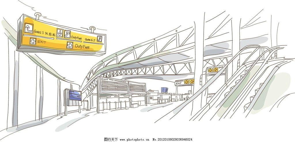 手绘城市高铁站内景观 建筑 线条 线稿 白描 矢量图 建筑线条矢量图