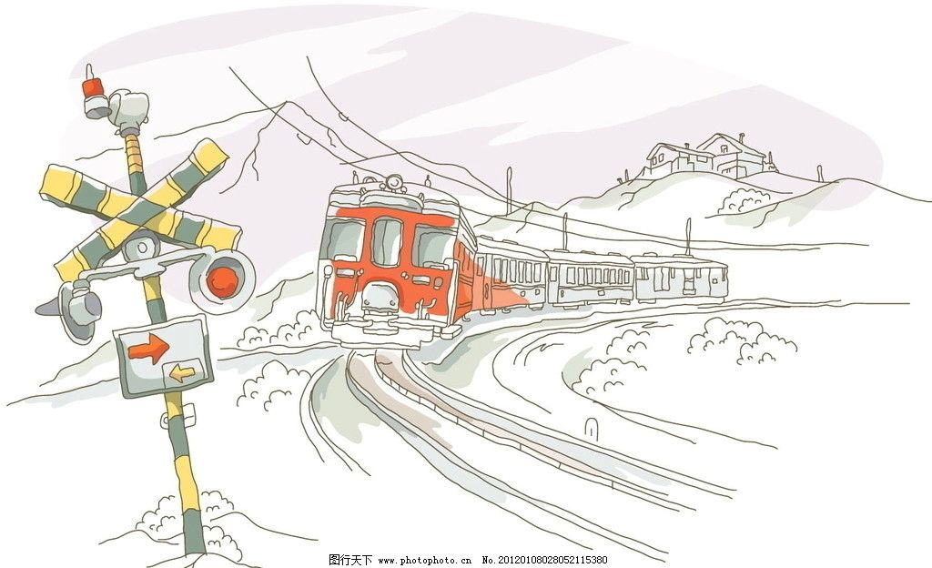 火车 沿线 建筑 景观 线条 手绘 线稿 白描 矢量 建筑线条矢量图 城市