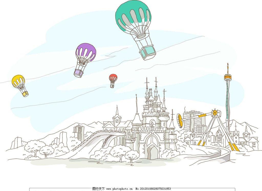 游乐场 建筑 景观 线条 手绘 线稿 白描 矢量 建筑线条矢量图 城市