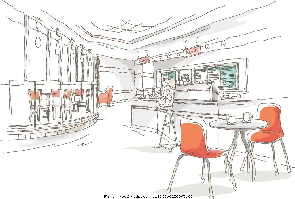 手绘线条 咖啡厅室内 城市景观 咖啡 室内 建筑 景观 线条 手绘 线稿