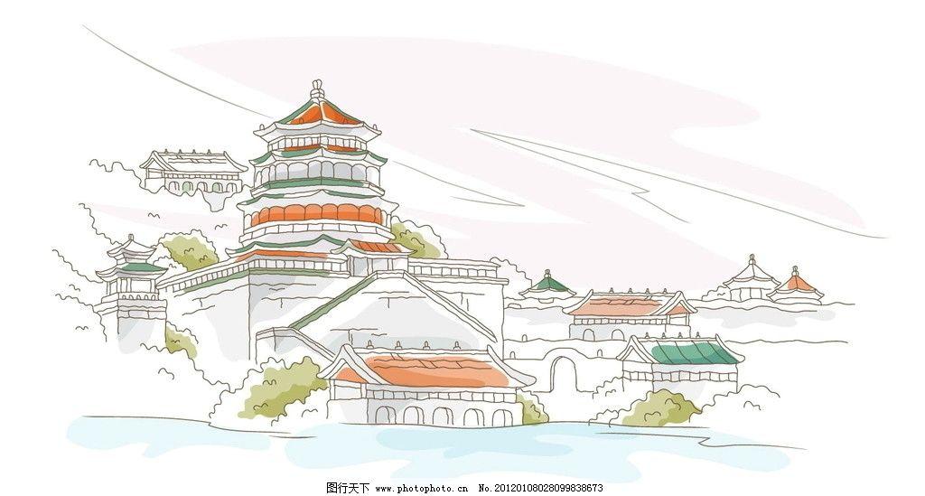 手绘中国古代建筑山水中的塔寺庙图片