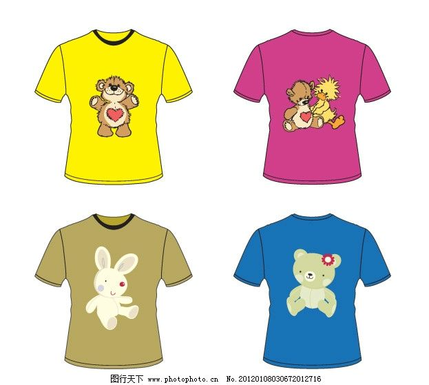 小熊 兔子 鸭子 动物 心 可爱 男装      t恤 t恤衫图案 卡通图案