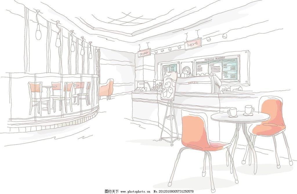 咖啡厅室内 城市景观 咖啡 室内 建筑 景观 线条 手绘 线稿 白描 矢量