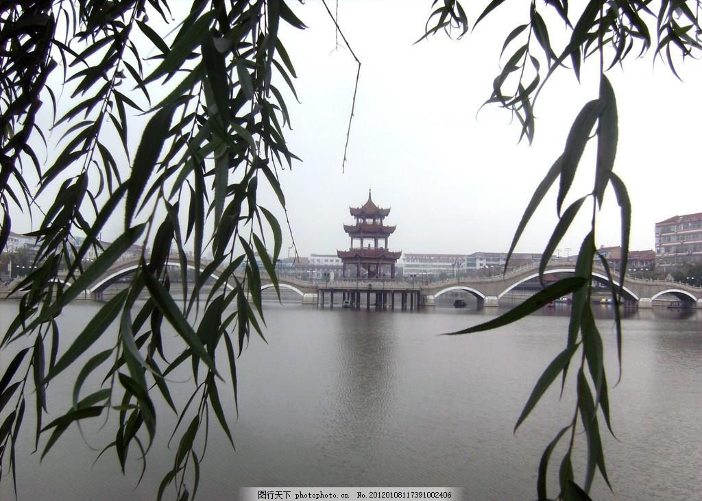烟雨闻喜西湖 烟雨西湖 垂柳 楼台亭阁 湖光水影 建筑摄影 建筑园林