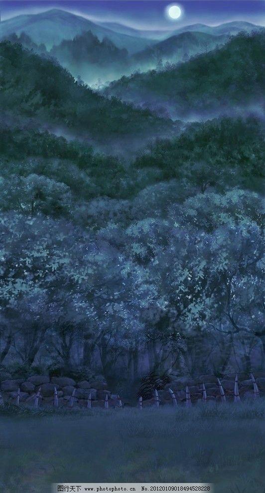 森林月色 动漫 场景 风景漫画 动漫动画 设计 72dpi jpg