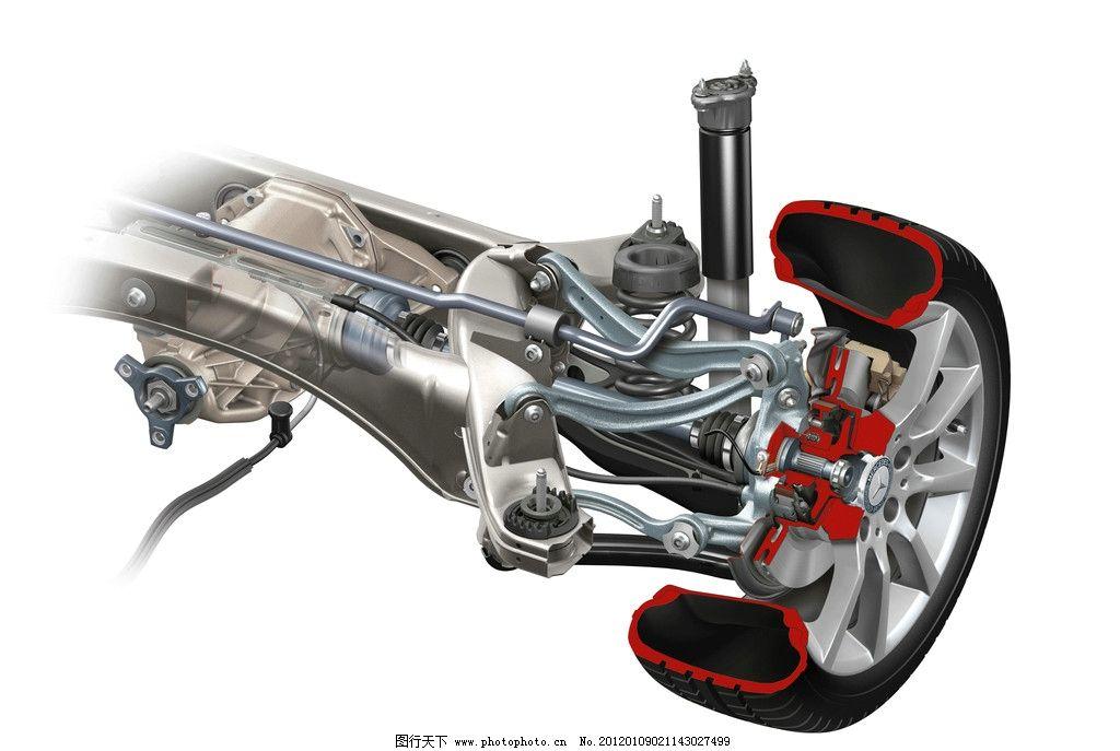 汽车机械特写 轮胎 轱辘 车架 地盘 图纸 结构图