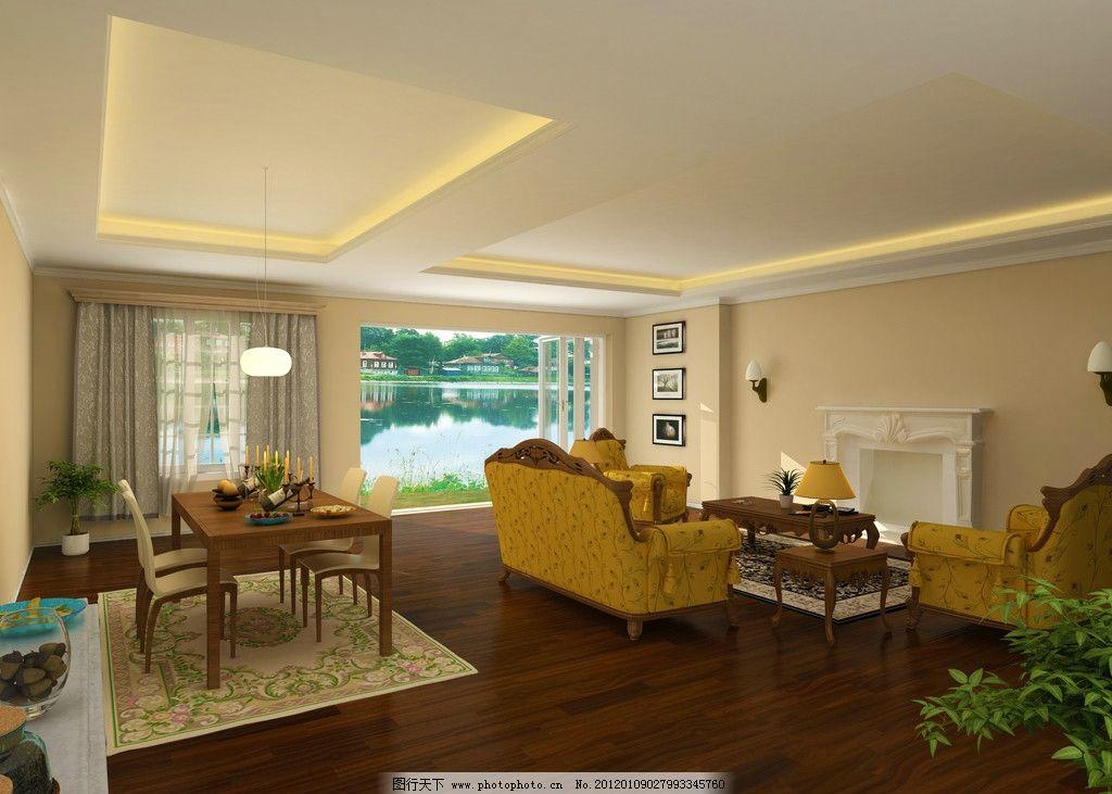 现代欧式客厅 沙发 餐桌 壁炉 植物 点心 灯带 白天 高清        室内