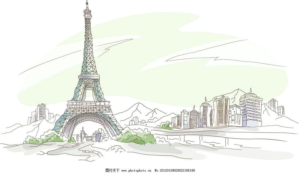 手绘巴黎埃菲尔铁塔高清图片下载,底图,复古,配图,手绘,素材,金色.图片