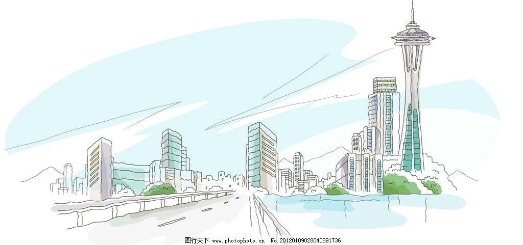 手绘上海外滩电视塔图片