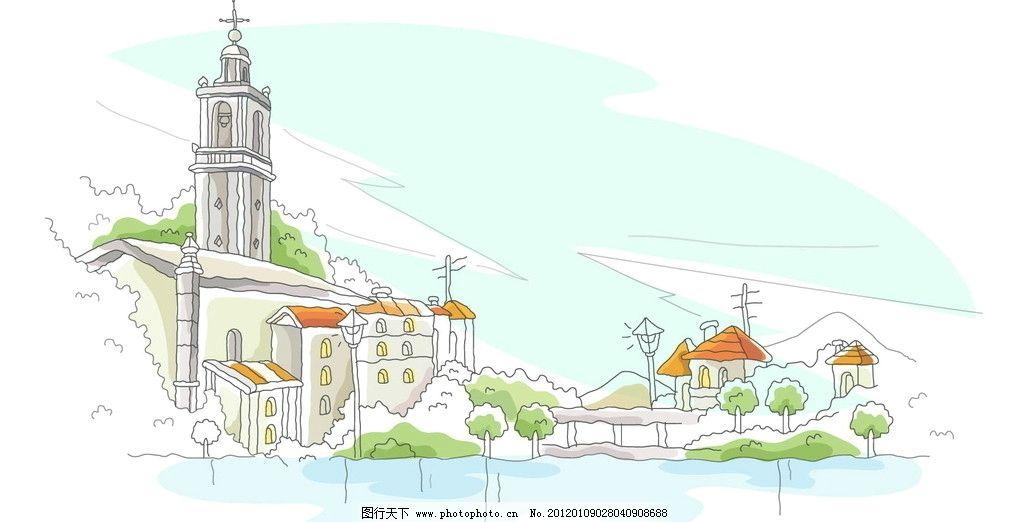线条 临海 海滨 城堡 手绘 线稿 白描 矢量图 建筑线条矢量图 城市