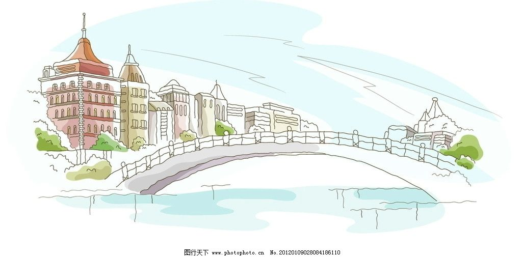 建筑 水上 欧洲 城市 景观 线条 手绘 线稿 白描 矢量图 建筑线条矢量