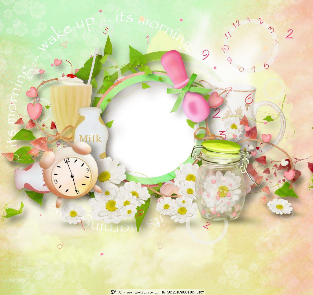 相框 花纹 花朵背景 相片背景 唯美相框 欧式相框 卡通模板 卡通背景