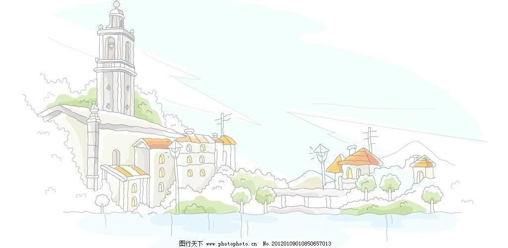 手绘欧式临海海滨城堡图片