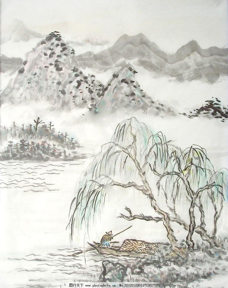 jpg 彩墨山水画 房子 风景画 国画 国画山水 河流 绘画 绘画书法 山水
