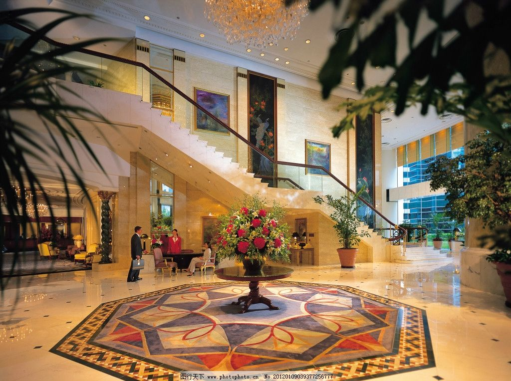酒店大堂图片 酒店大堂 抛光砖 地面拼花 装饰画 灯饰 植物 瓷砖铺贴