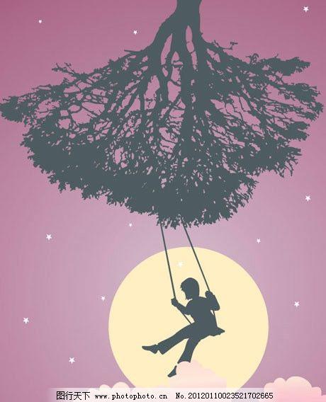 荡秋千 夜晚 夜空 月亮