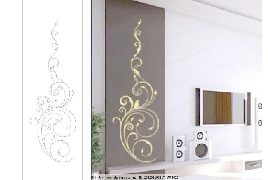 简欧矢量 壁挂画 壁画 边框 玻璃移门 大厅画 底纹 风景画 隔断