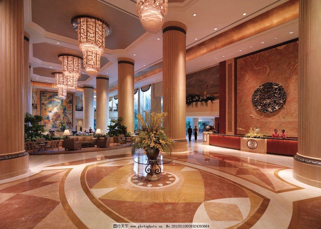 酒店大堂 抛光砖 地面拼花 装饰画 灯饰 植物 瓷砖铺贴样板间铺砖图片