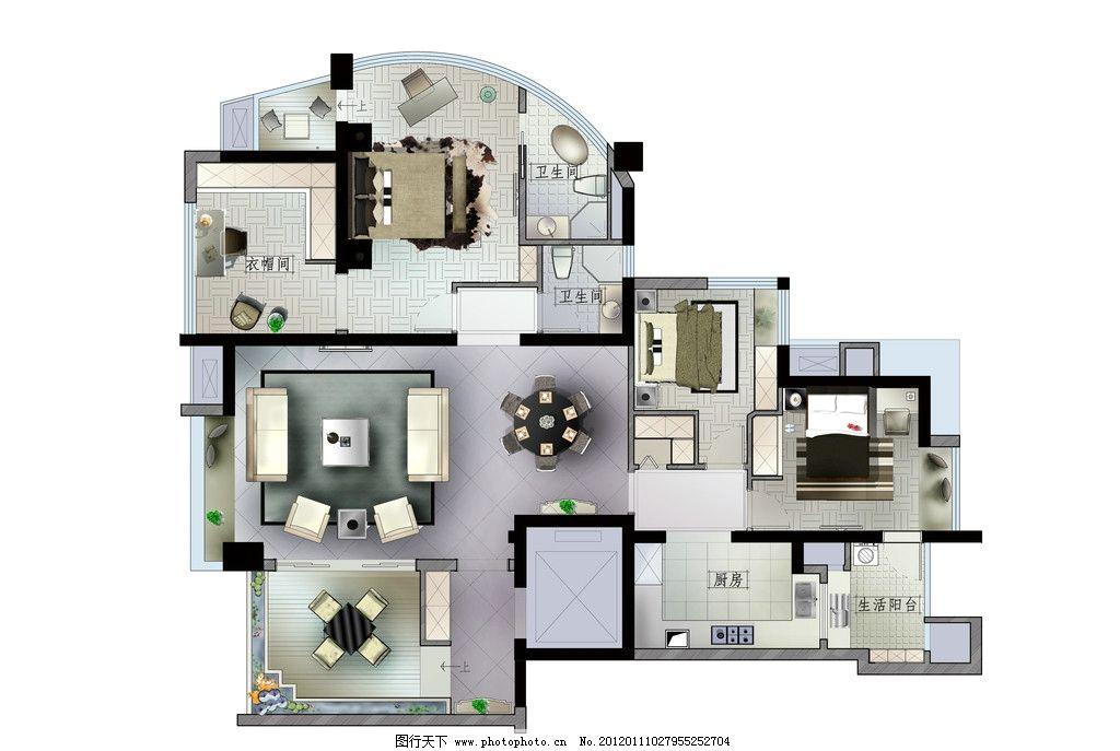 户型图 psd平面 室内 psd 彩屏 平面图 psd分层素材 室内设计 环境