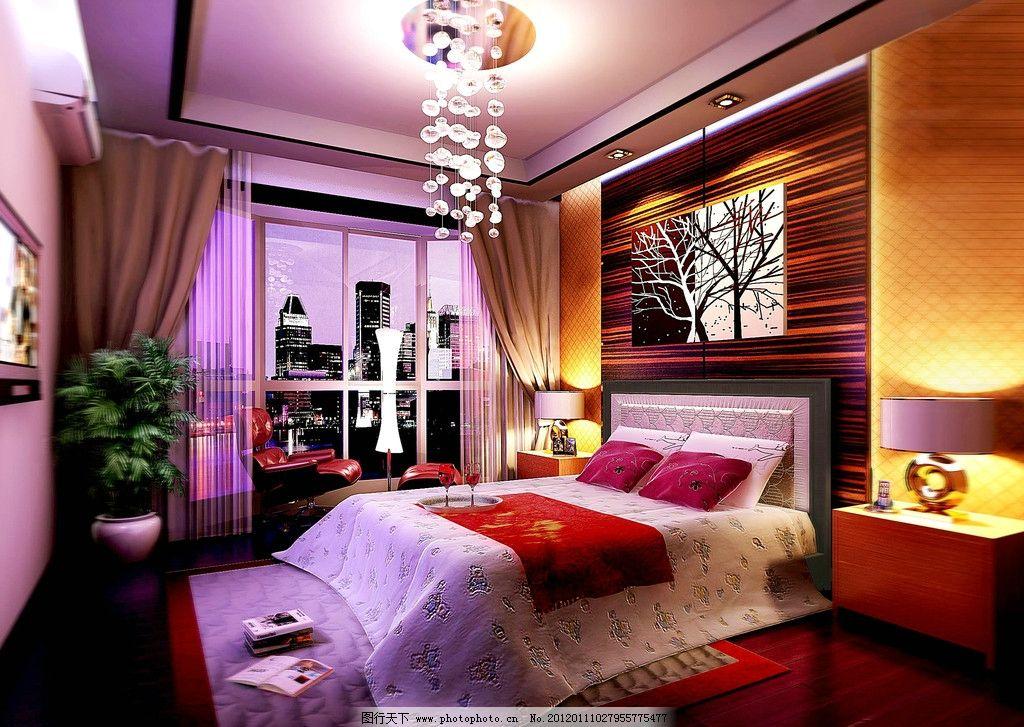 室内设计 室内装饰 卧室装饰 家具 床榻 床用品 房间灯饰 水晶吊灯