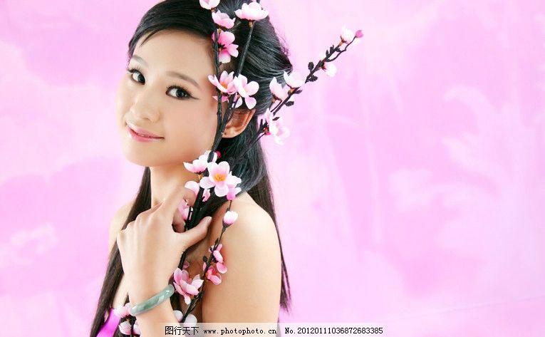 写真 古装 梅花 粉色 女性女人 人物图库 摄影 72dpi jpg