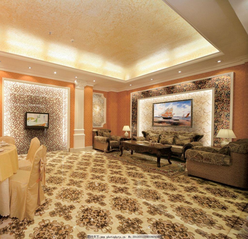 客厅餐厅图片      欧式沙发 家具 台灯具 装饰画 抛晶砖 背墙砖 墙纸