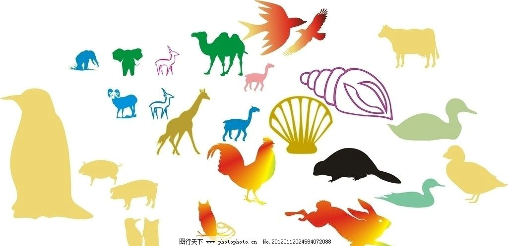 鸟 象 鸡 猪 儿童画 家禽 野生动物 企鹅 家禽家畜 生物世界 矢量 cdr