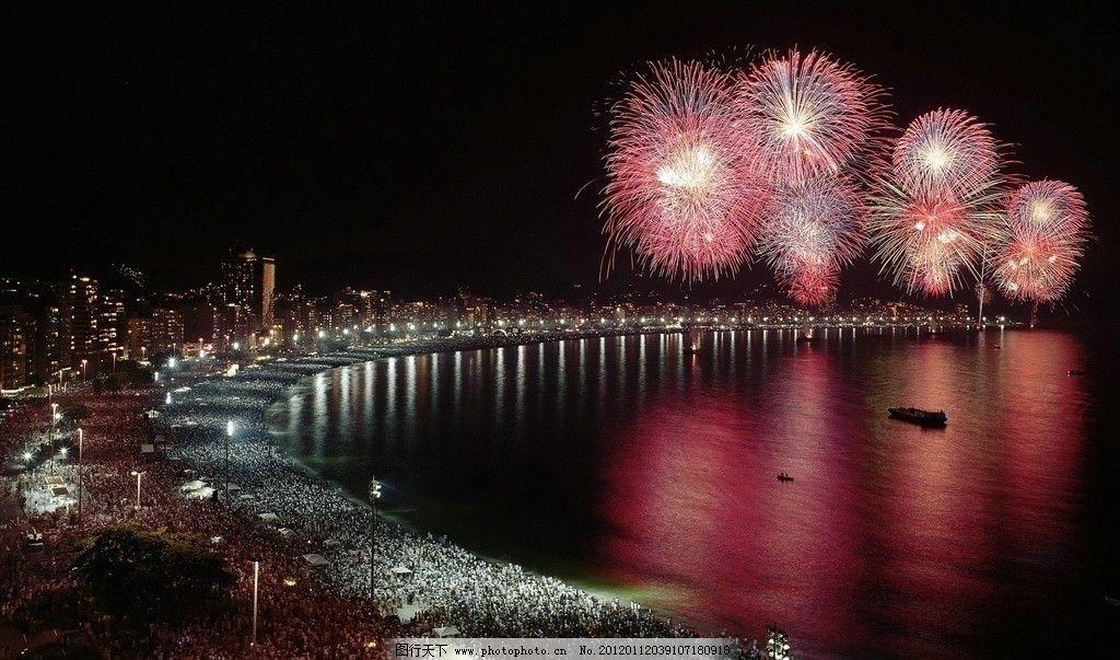海边烟火 节日 节庆 城市 烟花 夜空 摄影