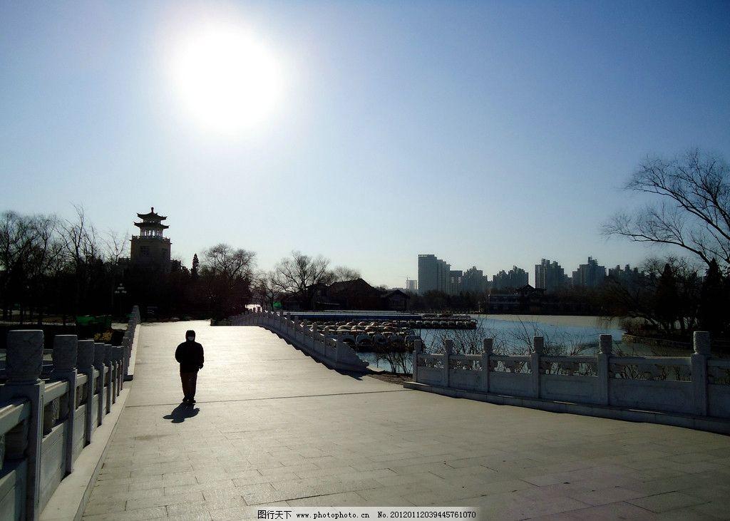 桥面上的风景 天津 水上公园 冬季 蓝天 树木 枯树 石桥 石柱