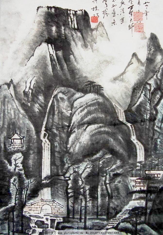 72dpi jpg 彩墨山水畫 房子 風景畫 國畫 國畫山水 河流 繪畫 繪畫