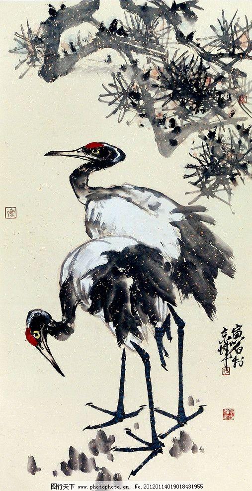 仙鹤迎春 美术 绘画 中国画 水墨画 白鹤 松树 国画艺术 国画集63-扇面图片