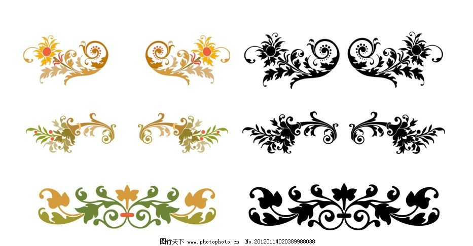 印刷专用 精致 边角 装饰 纹饰 时尚 边框花边 国外精致花纹图案 顶饰