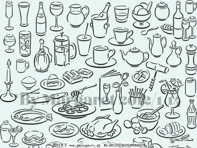 设计图库 生活百科 其他  简约白描餐具图案 插画 插图 线稿 剪影