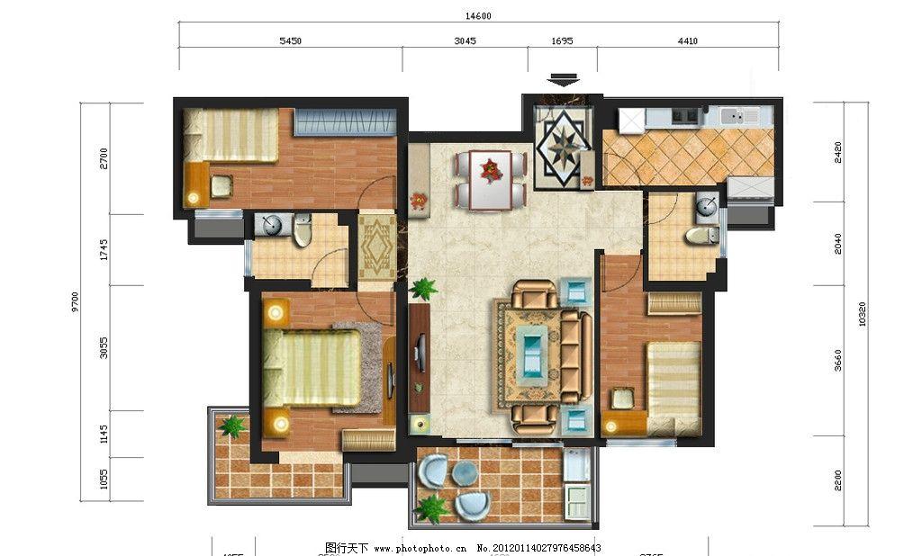 室内平面彩平 室内平面 彩色 室内设计 环境设计 源文件 96dpi psd