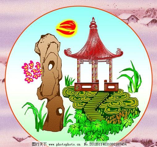 古画 古典 假山 亭子 石头山 底纹 手绘假山 其他模版 广告设计模板