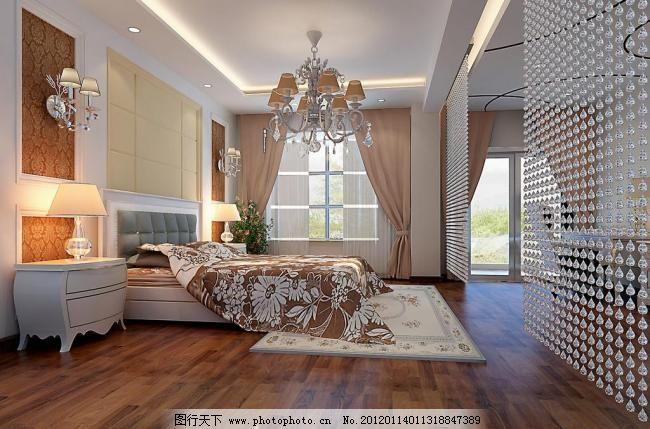欧式卧室 欧式卧室图片免费下载 床 柜子 室内设计 台灯 台灯